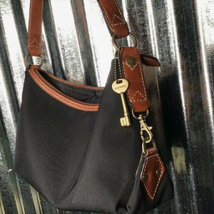 Fossil Black Textile Leather Trim Shoulder Bag